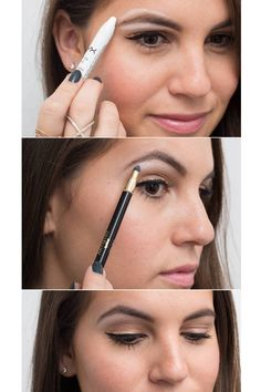 Genius Eyeliner Hacks Every Woman Needs to Know Use white eyeliner as a brow highlighter for an instant eye lift.Use white eyeliner as a brow highlighter for an instant eye lift. Eyeliner Hacks, Khol Eyeliner, No Eyeliner Makeup, Skin Makeup, Makeup Hacks, Black Eyeliner, Eyeliner Waterline, Natural Eyeliner, White Eyeliner Tips