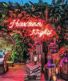 Havana Night Neon Sign- We love a well thought out theme here at Like this themed party by . Havanna Nights Party, Havanna Party, Latin Party, Cuban Party Theme, Pool Party Themes, Tropical Theme Parties, 18th Party Themes, Tropical Party Decorations, Summer Party Themes