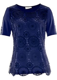 Premium Shirt mit Häkelspitze, bpc selection premium, dunkelblau
