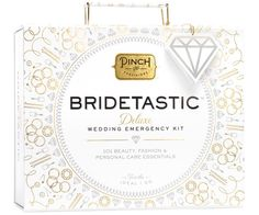 Behold the Bridetastic®, the Deluxe Wedding Emergency Kit by Pinch Provisions.® This gorgeously giftable, silver & gold embossed presentation box (with comp