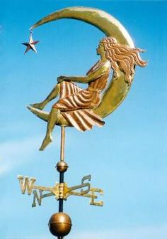 MOON GODDESS WEATHERVANE by West Coast Weather Vanes.  The Moon Goddess is our first weathervane design that featured the human figure. She remains one of our most popular weather vanes today. We make each weathervane to order, so we can personalize the weathervane in several ways according to individual customer preferences.