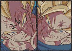 Dragonball Z - Goku Vs Vegeta (40 Colors) Cross Stich Pattern