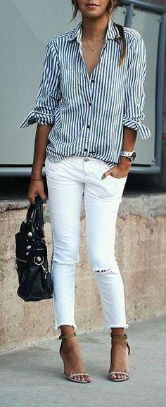 stylish outfit: shirt + skinnies + bag