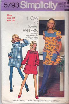 Your place to buy and sell all things handmade Vintage Dress Patterns, Dress Sewing Patterns, Clothing Patterns, Vintage Dresses, Vintage Outfits, Vintage Clothing, 60s And 70s Fashion, Vintage Fashion, Shirt Hacks