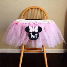 First Birthday Highchair Tutu Solid Color by CreateInspireDesigns