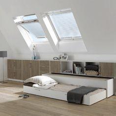 schuin dak - wegschuifbed op zolder