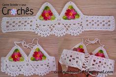 Olá pessoal!!!     As Croppeds estão em alta, então fiz essa delicadinha cropped em crochê para presentar a Lauren, filha de uma amiga no s...