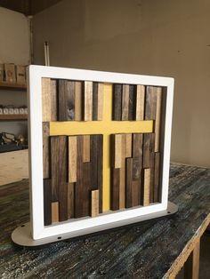 Modern Wall Art, Wood Wall Art, Wood Scraps, Confirmation Gifts, Wood Crosses, Dark Walnut Stain, Handmade Frames, Color Blending, Modern Colors
