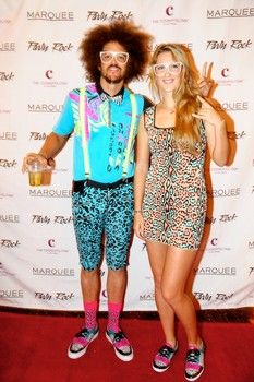 Redfoo and Victoria Azarenka on the red carpet at Marquee Nightclub, Oct. 29, 2012.
