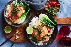 This spicy, fragrant coconut milk sauce is the perfect accompaniment to grilled fish and steamed bok choy in this Thai curry-inspired dish. Fish In Coconut Milk, Best Coconut Milk, Coconut Milk Chicken, Coconut Milk Recipes, Aussie Food, Australian Food, Asian Recipes, New Recipes, Ethnic Recipes