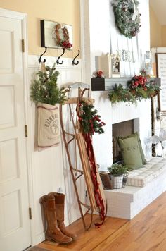 Little Vintage Nest blog. A Vintage Christmas Entryway. Farmhouse Christmas Decor.. Vintage Sled Christmas Decor.