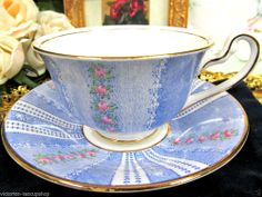 ADDERLEY TEA CUP AND SAUCER PINK ROSES CHINTZ FLORAL BLUE PATTERN TEACUP