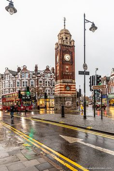 The historic Crouch End Clock Tower in London, England. This landmark sits at the center of the north London neighborhood. London England, England Uk, North London, London City, Notting Hill, Cebu, Dublin, British Architecture, Gothic Architecture