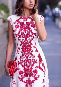 White Red Flowers Print Elegant Chiffon Maxi Dress - Dresses