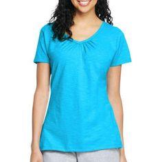 Hanes Women's Slub Shirred V-Neck T-shirt, Size: XL, Blue