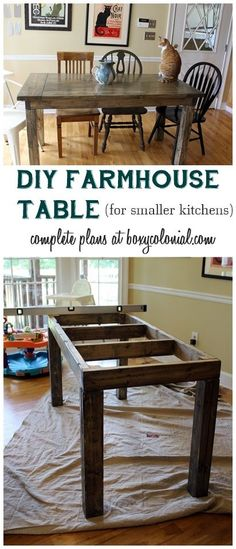 diy table DIY Small Farmhouse Table Plans: Complete Plans and Cut List to Make This Farmhouse Table for a Smaller Kitchen. Small Farmhouse Table, Small Kitchen Tables, Farmhouse Furniture, Farmhouse Plans, Farmhouse Style, Small Dining, Kitchen Ideas, Rustic Furniture, Kitchen Craft