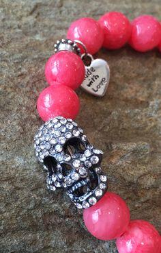 Pink Crystal #Skull Bracelet #SkullBracelet #PinkBracelet etsy.com/shop/KarmicSparkle
