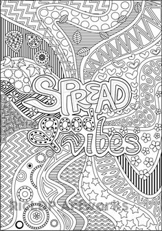 Printable Spread Good Vibes Coloring Page for by RicLDPArtworks