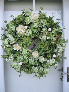XL Handmade Green/Cream Hydrangea Spring Wreath Summer Wreath