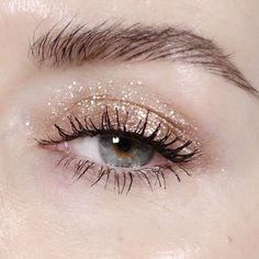 Glitter eye + bold brow.
