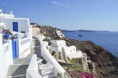 Santorini, Greece, Sea, City, Blue