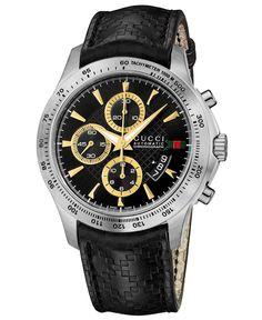 Gucci Watch, Men's Swiss Chronograph G-Timeless Black Diamante Leather Strap 44mm YA126237
