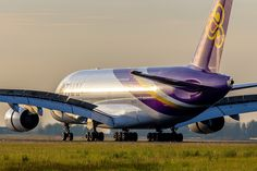 """Thai Airways International Airbus A380-841 HS-TUC """"Chaiya"""" rolling out upon arrival at Paris-Charles de Gaulle, June 2015. (Photo via Flickr: Yohann Casse)"""
