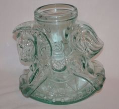 Decorative Vintage Carousel Rocking Horse Glass Jar Canister ~ Made in Italy ~  #SVEMadeinItalyMarkedonBottom
