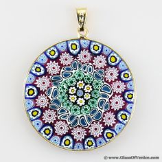 Millefiori pendant authentic venetian glass pendant murrina large millefiori pendant in gold plated frame 32mm mozeypictures Choice Image