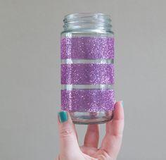 Summer Craft Idea For Glittered Glass Jars