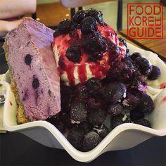 Blueberry Cheesecake Bingsu (블치빙) from Coffee Namu (커피나무) in Seoul. More Information in the No.1 food guide in Korea, Food Korea Guide.