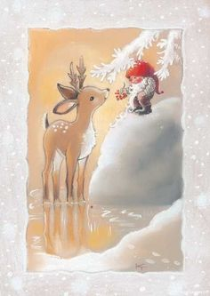 Scandinavian Gnomes, Butterfly Art, Vintage Christmas, Fairy Tales, Art Drawings, Moose Art, Christmas Cards, Paper Crafts, Watercolor