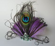 Peacock and Purple Feather Fascinator Hair Clip...I love this