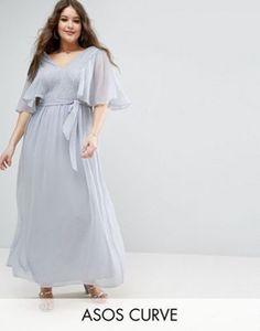 ASOS CURVE Lace Panelled Flutter Sleeve Maxi Dress