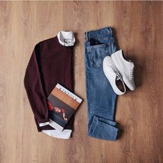 Some good old burgundy ___ Sweater: Shirt: Jeans: Sneakers: Sunglasses: Magazine: Casual Outfits, Men Casual, Fashion Outfits, Casual Chic, Herren Outfit, Outfit Grid, Burgundy Sweater, Casual Street Style, Mens Clothing Styles