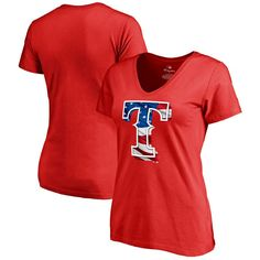 Texas Rangers Fanatics Branded Women's Plus Sizes Banner Wave T-Shirt - Red