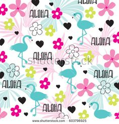 """Hawaiian word """"Aloha"""" greeting with tropical pattern with flamingo, wrapping paper vector illustration."""