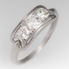 Antique 1930's platinum 3 stone Old European cut diamond ring
