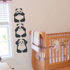 Nursery Wall Decal 3 Pandas speak no, see no, hear no Evil - Kids Wall Decals Wall Art Sticker Family Wall Decals