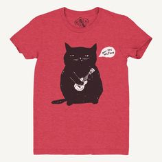 Cat T-Shirt, Ukulele Cat T-shirt, Women's T-Shirt, Relaxed Fit Red tee by Shredmycouch on Etsy https://www.etsy.com/listing/274122254/cat-t-shirt-ukulele-cat-t-shirt-womens-t
