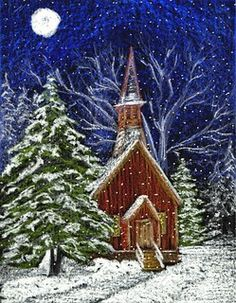 Christmas art – Church in Snow
