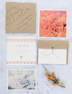 Aztec Desert Wedding Inspiration. Great simplicity. I'd flip the theme for a beach wedding, with a vintage beach shot and gold calligraphy with soft gray blue accents.