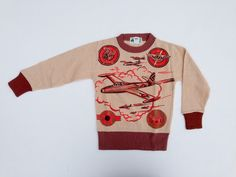 Vintage 1940s Airplane Sweater Knit Novelty Print WWII Military Plane Fighter #YearRoundKnitPlaywear