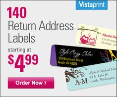 Vistaprint: Get 140 custom address labels for $4.99 shipped (new customers only) - Money Saving Mom®