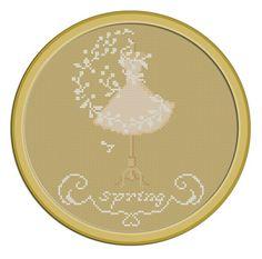 4 Seasons Spring. PDF Cross Stitch Pattern by PatternBird on Etsy, $4.00