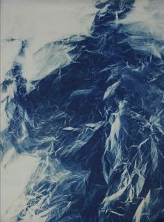 "Wu Chi-Tsung  Wrinkled Texture 016. Photograph, cyanotype, paper, 32 7/10 × 55 9/10"". 2013.  Wrinkled Texture 015. Photograph, cyanotype, pa..."