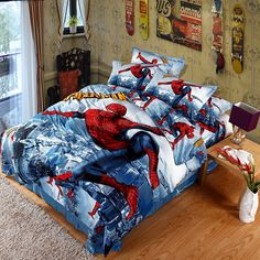 2016 New 3D Printed Spiderman Kids Bedding Set for Boys Teen 100% Cotton 4 pcs Duvet Cover Flat Sheet with 2 Pillowcases