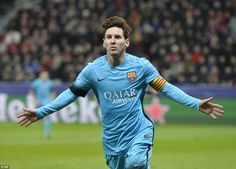 Barcelona forward Lionel Messi celebrates opening the scoring against Leverkusen during Wednesday's 1-1 draw in Germany