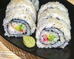 Elegant and delicious Uramaki (Inside-out Roll) with avocado, shrimps, and pickled ginger. Recipe includes step-by-step instructions and pictures.