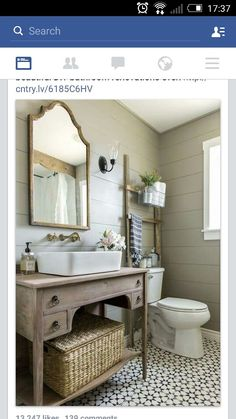 More ideas below: BathroomRemodel Small Bathroom Remodel On A Budget DIY Bathroom Remodel Ideas With Tub Half Paint Bathroom Shower Remodel Master Tile Farmhouse Bathroom Remodel Rustic Bathroom Remodel Before And After Bathroom Renos, Bathroom Renovations, Master Bathroom, Bathroom Small, Shiplap Bathroom, Bathroom Storage, Rustic Renovations, Bathroom Vintage, Bathroom Ladder